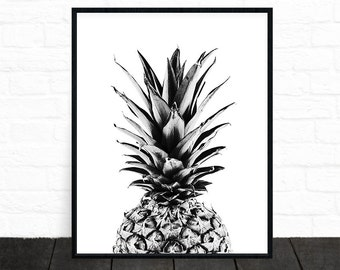 Pineapple Print, Pineapple Wall Art, Black and White Print, Pineapple Decor, Tropical Art, Printable Kitchen Art Minimalist Pineapple Poster