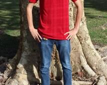 90s Mens Mock Turtleneck Shirt, Size Medium, Red Syllables System Shirtsleeve Top