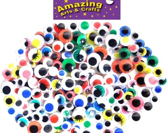 200 Self Adhesive Wiggle Googly Wiggly Eyes assorted types and sizes