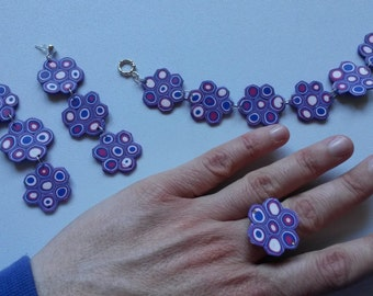 Parure wisteria flowers in fimo & metal