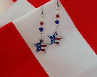 Merica Earrings FREE SHIPPING Merica Jewelry American Earrings American Jewelry Red White and Blue Jewelry Red White and Blue Earrings Stars