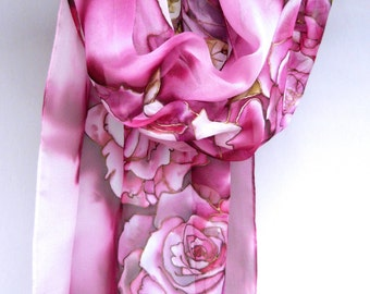 Hand painted silk scarf Silk chiffon Magenta scarf Floral roses scarf Batik scarf Silk painting Womеn Gifts handpainted scarves Luxury FS