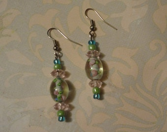 Pink, blue and green Floral Earrings with crystal and glass beading