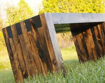 Modern Pine Solid Wood Bench, Weatherproofed for Outdoor Use