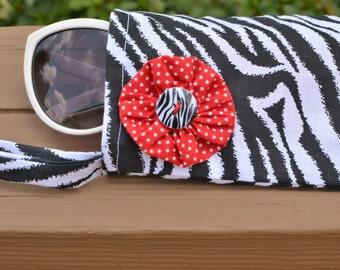 Zebra Sunglasses Case, Fabric Sunglass pouch, Handbag organizer, Phone Wristlet, Wristlet, One of a Kind