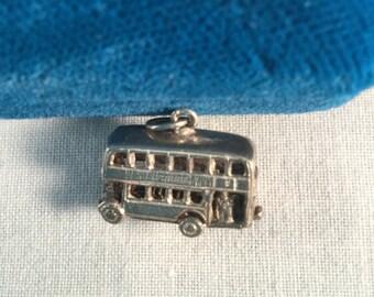 Vintage 1960's Sterling Silver London Double Decker Bus Charm .925 #747