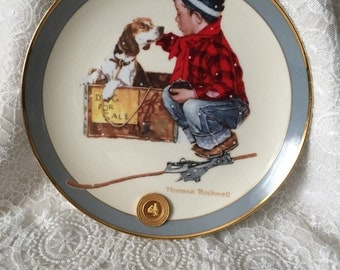 A Boy Meets His Dog ~ Norman Rockwell LIMITED EDITION ~ The Franklin Mint plate #HA1618