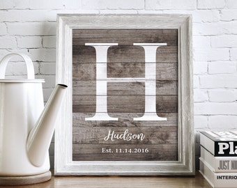 Custom Family Name Sign, Monogram Print, Gallery Wall Art, Personalized Wedding Gift, New Home Gift, Rustic Home Decor, Wood DIGITAL PRINT