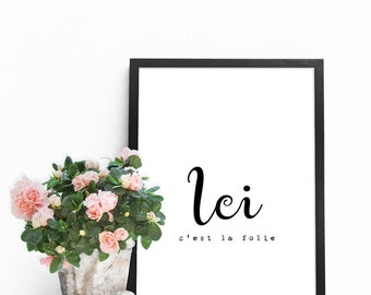 French quotes, Black and white quote prints, French words decor, French wall art, French gifts, French PRINTABLES artwork, French art prints