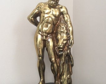Vintage Statue of Hercules, Made in Greece; Brass Plated Herakles Statue