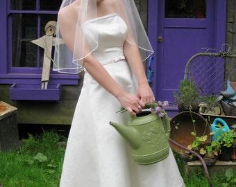 "Single Tier Wedding veil - 30"" elbow length bridal veil with 1/8"" satin ribbon edge"