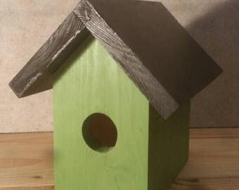 Birdhouse Green and Black Pine Wood