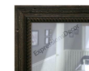 Custom Ribbed Weathered Pine Wood Rustic Wall Mirror - Flat Glass - FREE SHIPPING