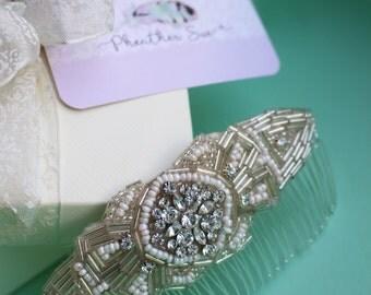 Rhinestone Diamante Bead Bridal Bridesmaid Hair Comb Fascinator