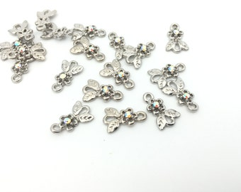 6 Rhinestone Flower Connector, Metal Charm, Jewelry Findings, Rhodium Plated, DIY Jewelry, 8x13, FC004