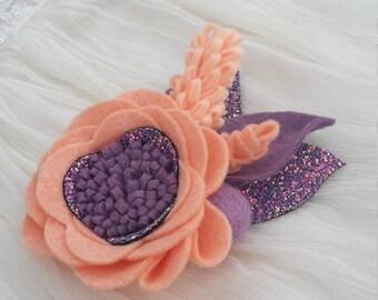 Peach&Plum // felt flower headband