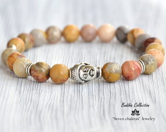 Gemstone Agate 8mm Beads Mens bracelet Yoga Jewelry Mala Bracelet Energy Buddha Bracelet Mens Gift