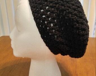 Black Crocheted Slouchy Hat