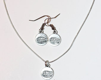 UF Gators! University of Florida Gator's Fan Necklace and Dangling Earrings with a Sterling Silver Chain // Gifts for Her // College Footbal