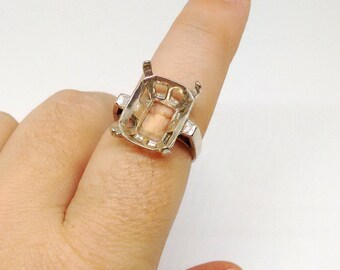 Rectangle Ring Setting,Solid  925 Sterling Silver, Size 8.5, Statement Ring Base, 11x16mm Mounting, Prong, Pre Notched, Vintage Style,PC6679