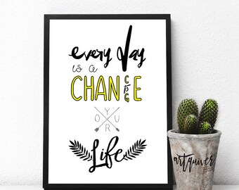 Everyday is a chance to change! Motivational posters, Wall quotes, Artsy quotes, Trendy Wall Designs, quote posters, inspirational quote