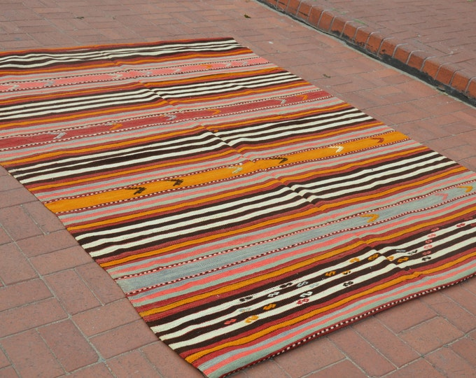 CHRISTMAS SALE %7 Anatolian Turkish Kilim Rug Pastel Kilim Rug Vintage Kilim Rug Antique Rug Tribal Rug