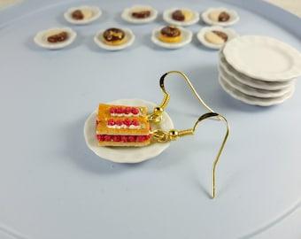 Raspberries Mille-feuille Earrings, Miniature food, Miniature Cake Earrings, Cake Jewelry, Polymer clay Earrings, Polymer clay jewelry