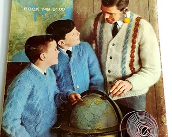 1960s Columbia Minerva Book 749 Knit Fashions for Men and Boys Knitting Pattern Book