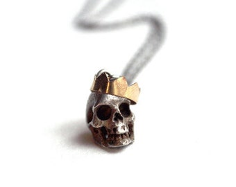 Crowned Skull Necklace. Sterling Silver Chain with Brass Skull and Crown Pendant. For Men and Women. The Mad King Necklace