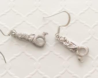 Silver Mermaid Earrings ~ Mermaid Dangle ~ Made for Mermaids ~ Mermaid Charms ~ Mermaid Wedding ~ Bridal Party Jewelry