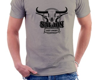 SALOON LUCKY COWBOY gray T-shirt cream Wild West Tshirt man wild west cowboy • 022