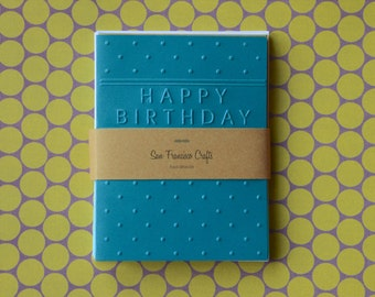 Happy Birthday Handpressed Cards - Embossed Card Set - Set of 8 - no. 002