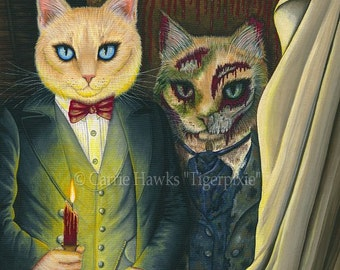 Dorian Gray Cat Painting The Picture of Dorian Gray Gothic Cat Art Original Canvas Cat Art Painting 12x16 Art For Cat Lover