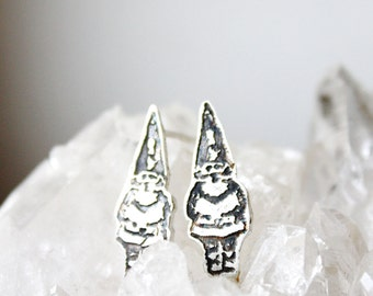 Gnome Earrings, Small Sterling Silver Post Earrings, Etched silver jewelry, tiny earrings, forest nature garden magic