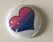 Holographic Glitter Bisexual One Inch Button, Pride, Heart, Pink, Purple, Blue