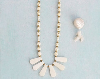 Vintage Bone Fan Necklace -  carved beads with brass spacers and clasp - tribal boho chic jewelry