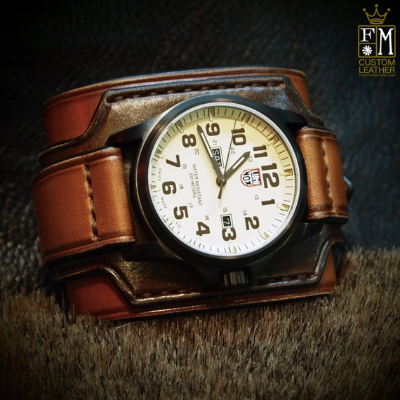 Leather cuff watch LUMINOX Vintage Brown 2 tone Wide layered Style; Refined quality Wristwatch Handmade for YOU in NYC by Freddie Matara!