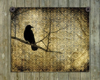 Crow Collage Print, Raven Photograph, Rook, Aged Golden Damask, Blackbird, Bird, Aged, Nature Vintage Art - Old Damask