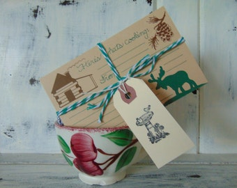 Recipe Card Set Of 10, Moose And Cabin, Lodge, Stationery, Cards, Nature, Woods