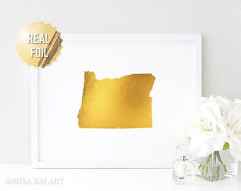 Portland Oregon Map Print - Oregon Print - Real Gold Foil - Oregon Art - Oregon Map - Gold Oregon - OR State Map - Personalized Color