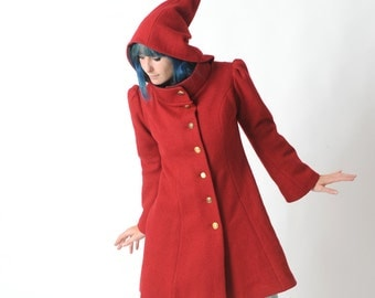 Red wool coat, Red womens coat with pixie hood, Red hooded winter coat, virgin wool coat, Womens coats, Womens clothing, MALAM, Your Size