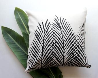 Cream and Black Nipa Palm Leaf Throw Pillow - Square - Boho Beach Decor - Palm Leaf Decor - Palm Trees - Tropical Print Pillow - Safari