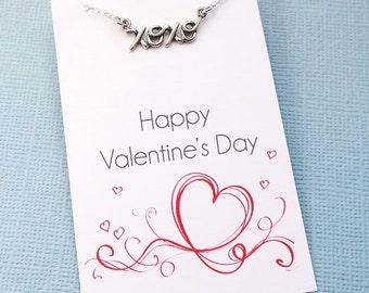 Valentine Gift |  XOXO Necklace, Cursive Necklace, Valentines Gift for Her, Valentines Day Gift, Hugs & Kisses, Girlfriend Gift | L06