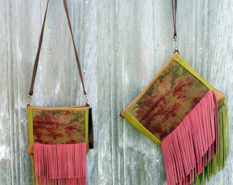 Leather Carpetbag Clutch and Cross Body Bag with Chartruse and Pink Fringe by Stacy Leigh