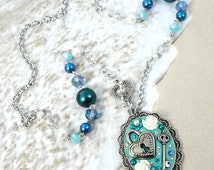 MERMAID'S TROVE - Couture Jewelry Clay Cameo Lock and Key Charm Necklace In Blue and Silver