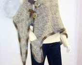Upcycled Shawl/Wrap/Poncho/Bohemian/ Beige Mohair Knit Shawl/One Size/brenda abdullah