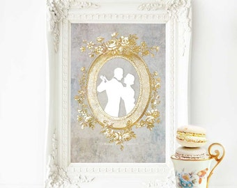 Romantic couple, Art Deco print, cameo, silhouette, French vintage decor, A4 giclee