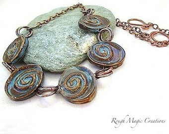 Boho Chic Necklace, Earthy Brown and Blue Ceramics, Rustic Copper Chain, Primitive Jewelry, Adjustable Choker