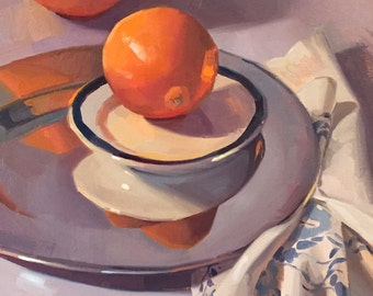 "Art painting fruit orange still life ""Orange Orbit"" original oil by Sarah Sedwick 12x16"""