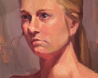 """Art painting portrait """"The Shadow of Her Face"""" Original oil by Sarah Sedwick 11x14in"""